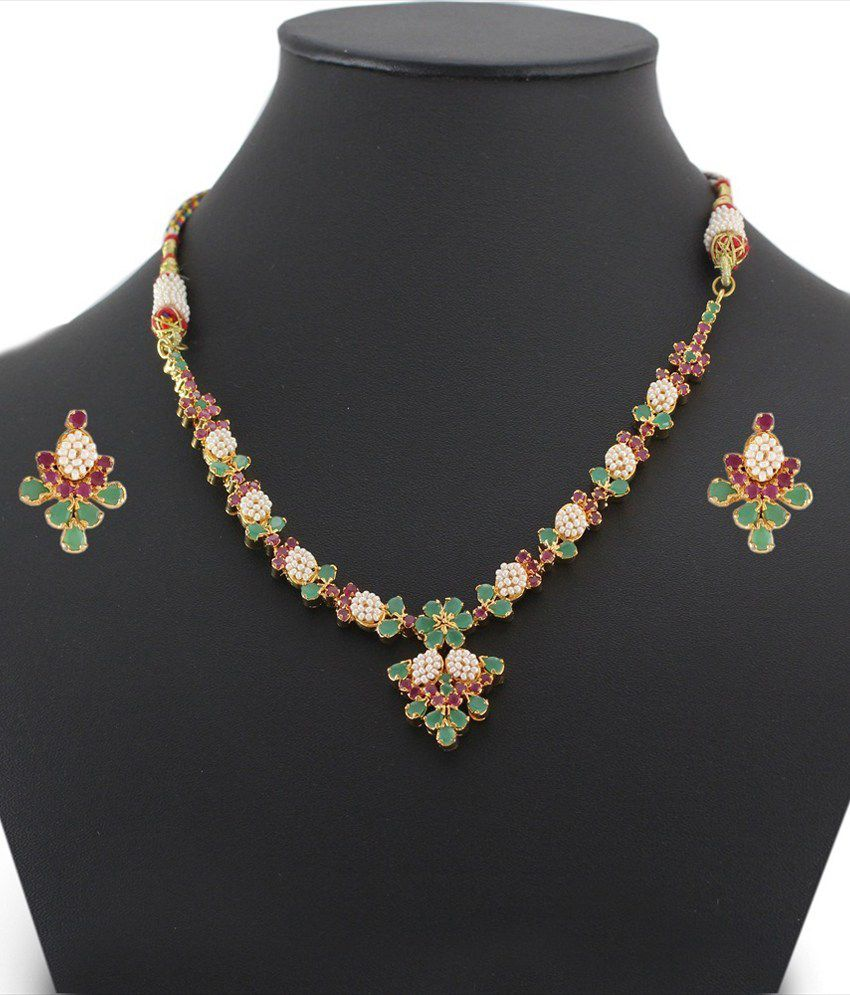 Artificial Bridal Jewellery Sets: 925 Silver Alluring Artificial Bridal Necklace Jewelry Set