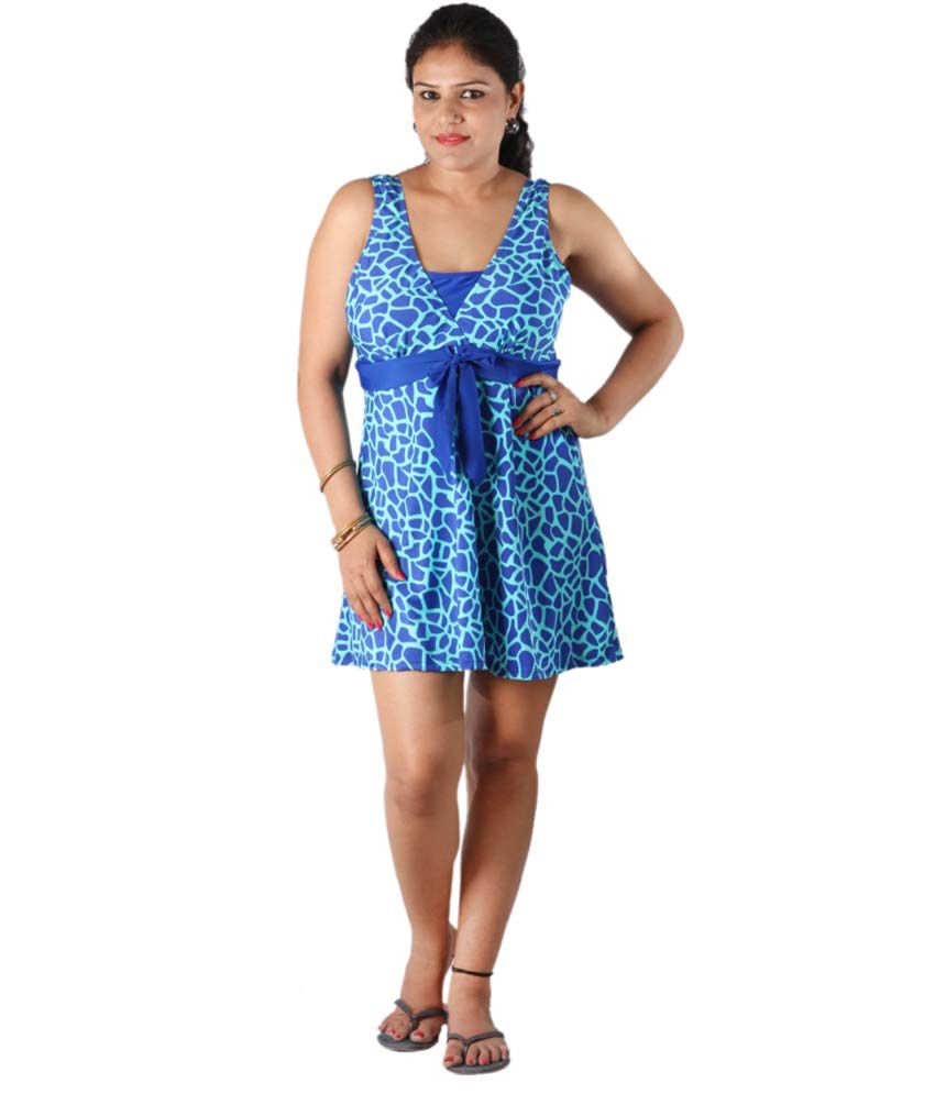 Indraprastha Blue Printed Umpire Line Swimsuit/ Swimming Costume