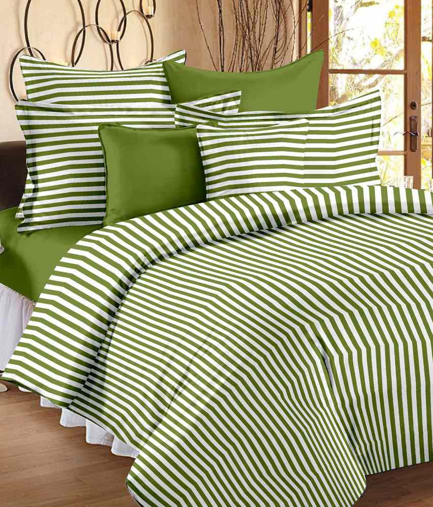 Bed sheets with price -  Story Home Stripes Design Cotton 3 Single Bed Sheets With 3 Pillow Covers