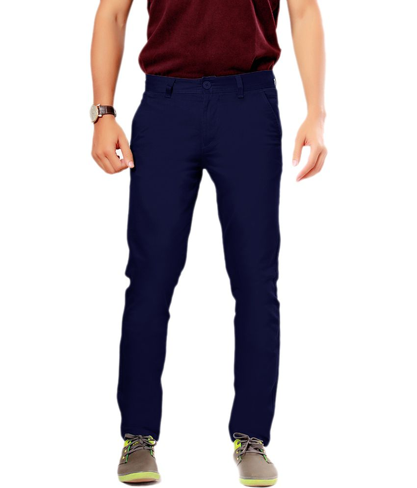 Uber Urban Blue Cotton Casuals Slim Fit Flat
