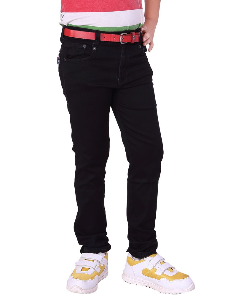 Utex Satin Finished Silky Denim Elastic Pure Black Jeans Pant for