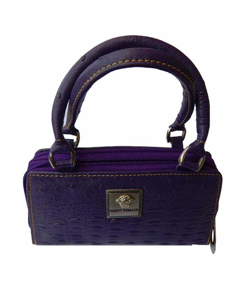 Corrido India Purple Zip Purse With Four Compartment
