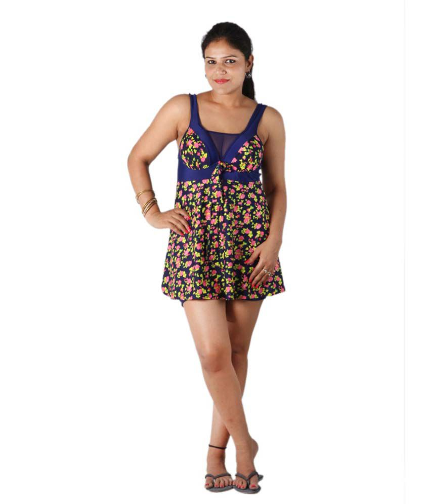 Indraprastha Floral Printed Umpire Line Swimsuit/ Swimming Costume
