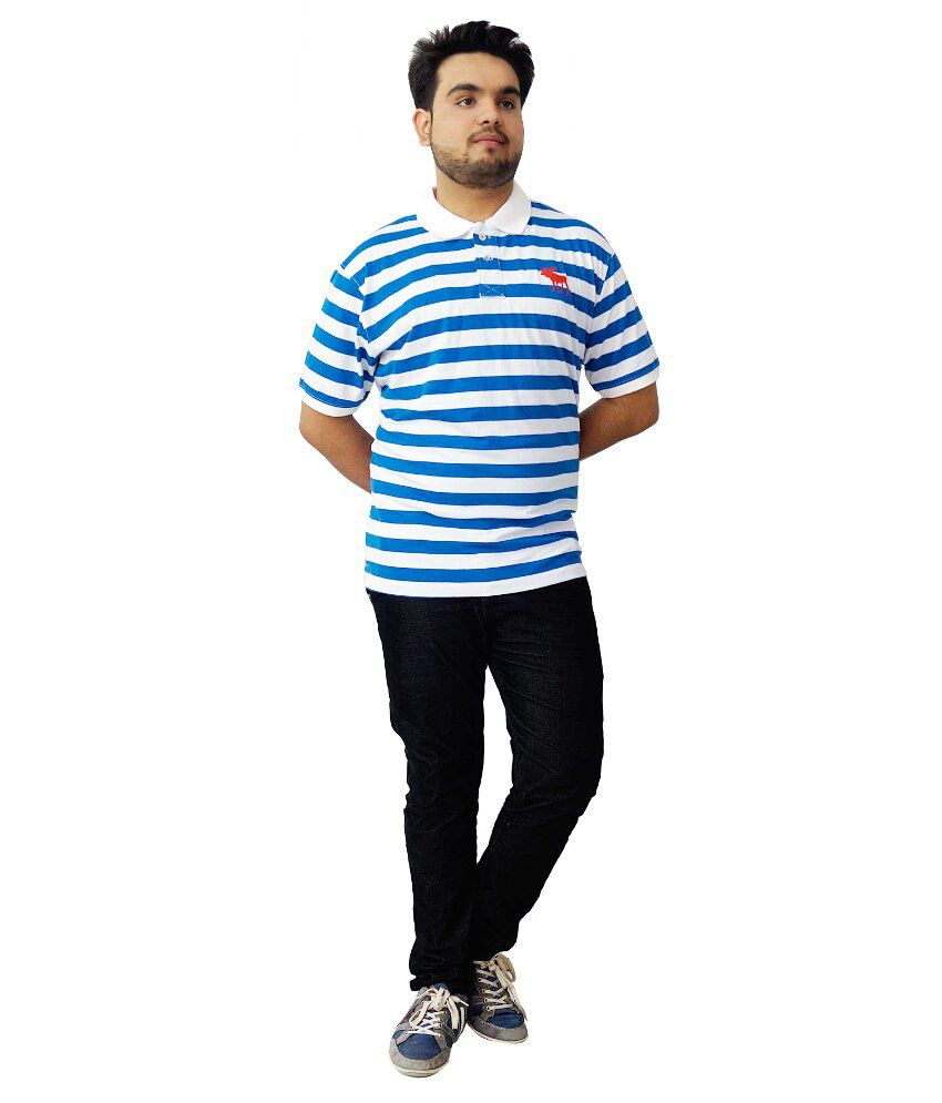 Parv Collections Blue Cotton Color Blocks V-Neck T-Shirt For Men