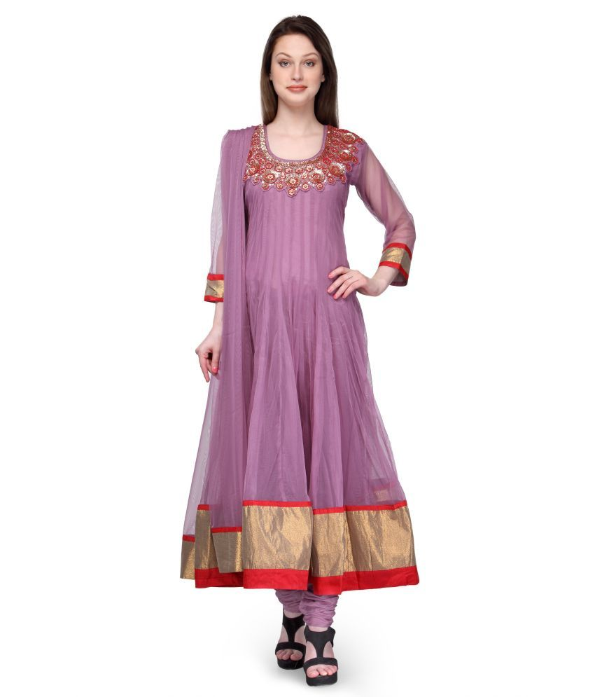 Aujjessa Purple Net Embroidered Anarkali Salwar Suits