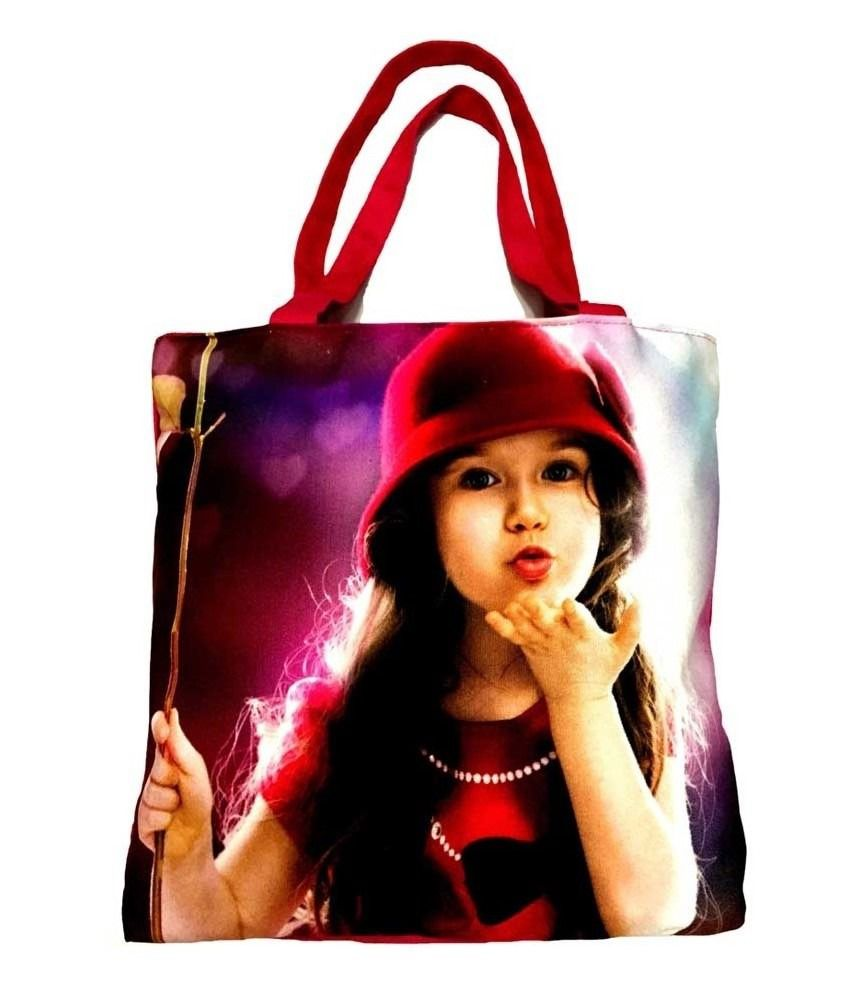 Bag Studio Pink Doll Print Cotton Shopping Bag
