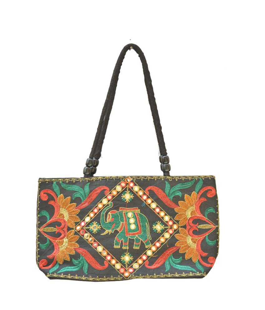 Craftghar Black Green Gujarat Mirror Work Shoulder Bag