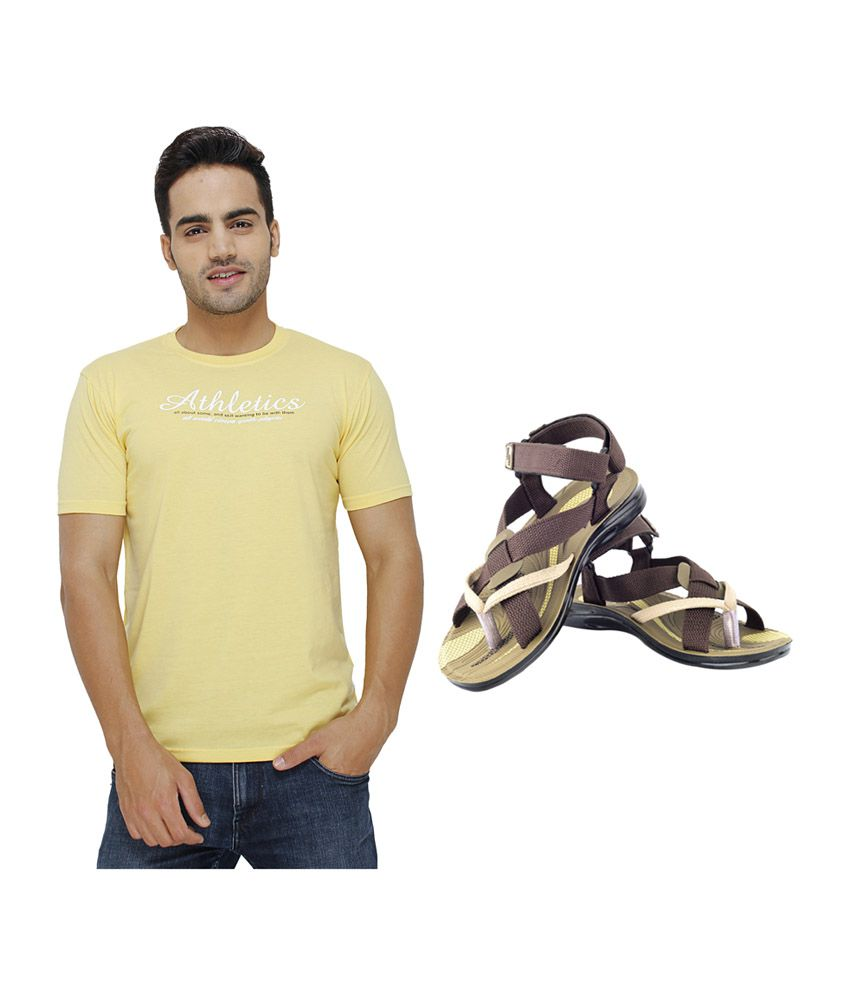 Eprilla Yellow Round Neck T-Shirt with Sandals (Pack of 2)