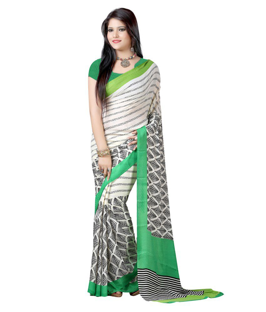 Lookslady Beige Art Crepe Saree