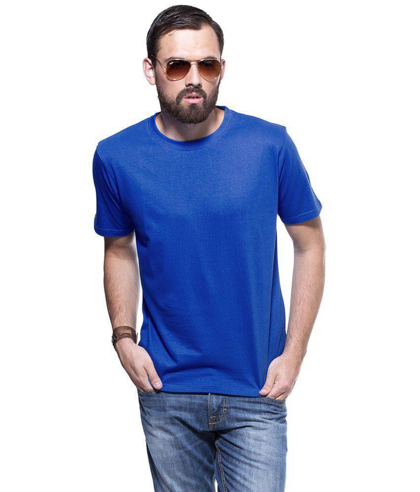 Ottra Retail Pvt Ltd Blue Cotton Round Neck Mens T Shirts