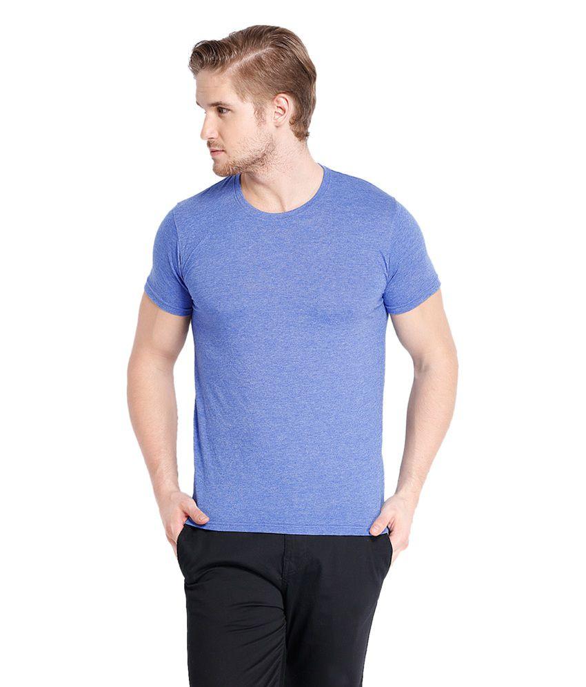 Highlander Blue Cotton Blend Round Neck T-Shirt