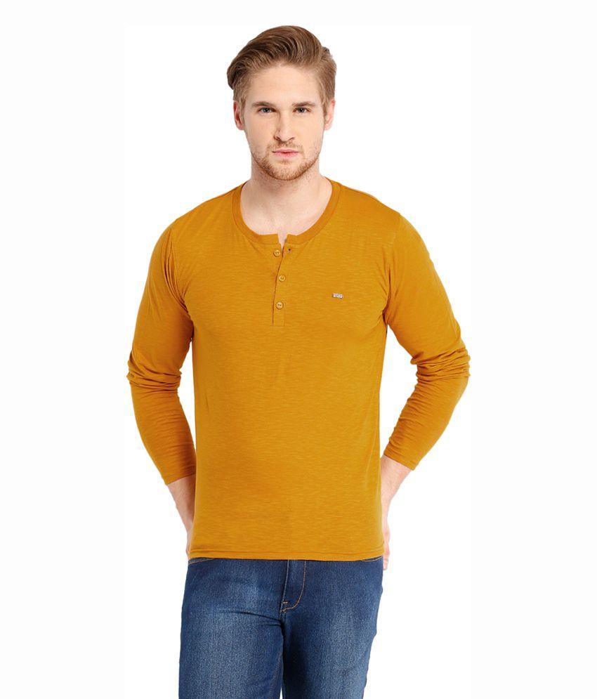 Locomotive Yellow Cotton Henley T-Shirt