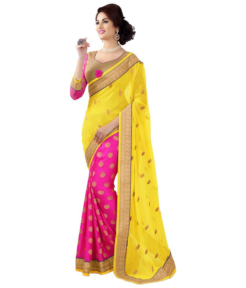 Dks Designer Yellow Pure Chiffon Saree