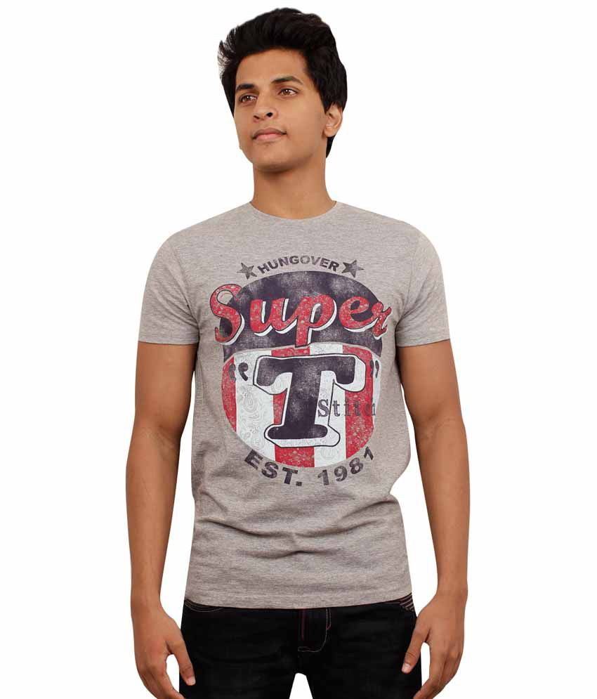 Hungover Gray Cotton Printed Round Neck T-Shirt