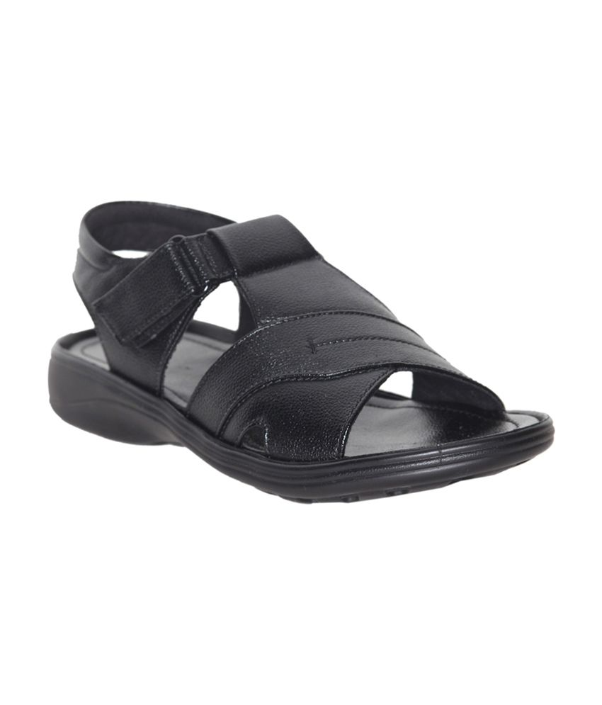 Leeport Black Synthetic Leather Daily Wear Sandals