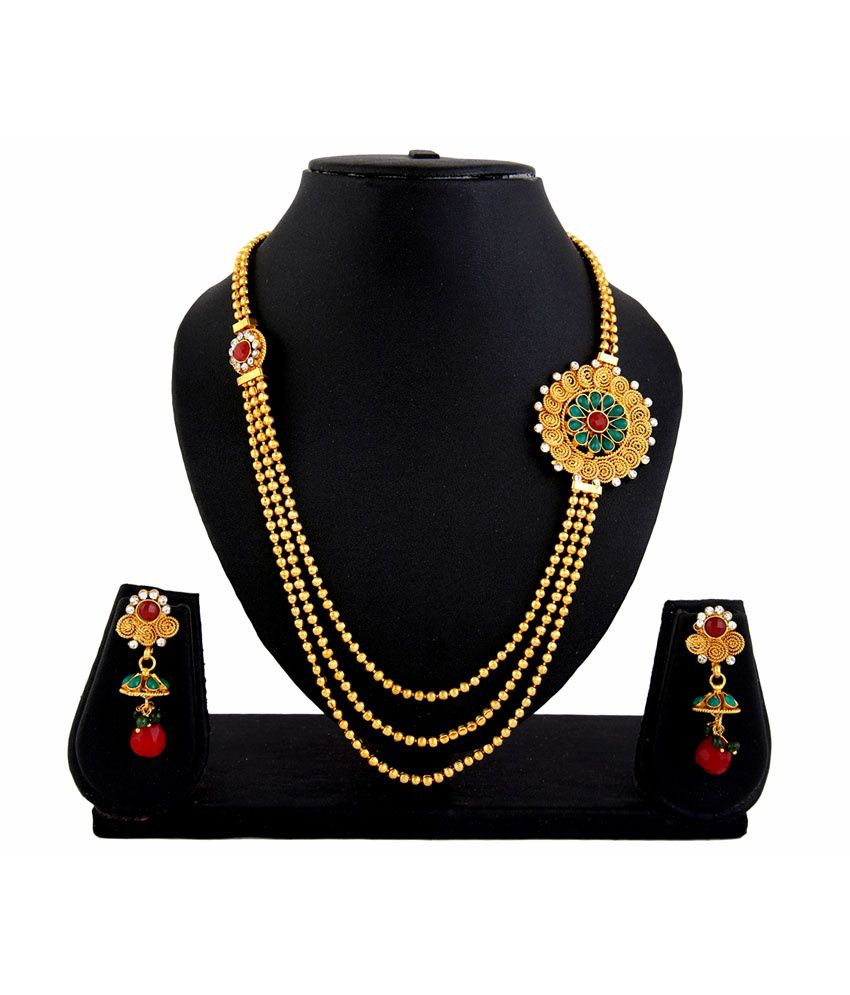 Adoreva Gold Gold Plated Brass & Copper etc Traditional Necklace Set