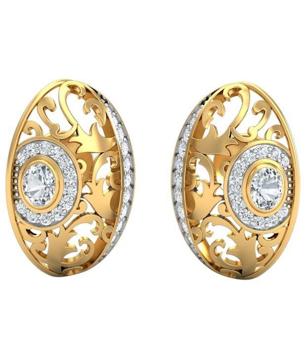 Aurobliss.com Artistic Swirls 18Kt Gold Stud Earrings
