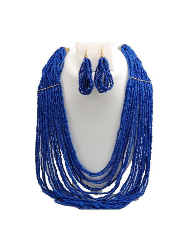 JewarPot Blue Contemporary Design Necklace Set