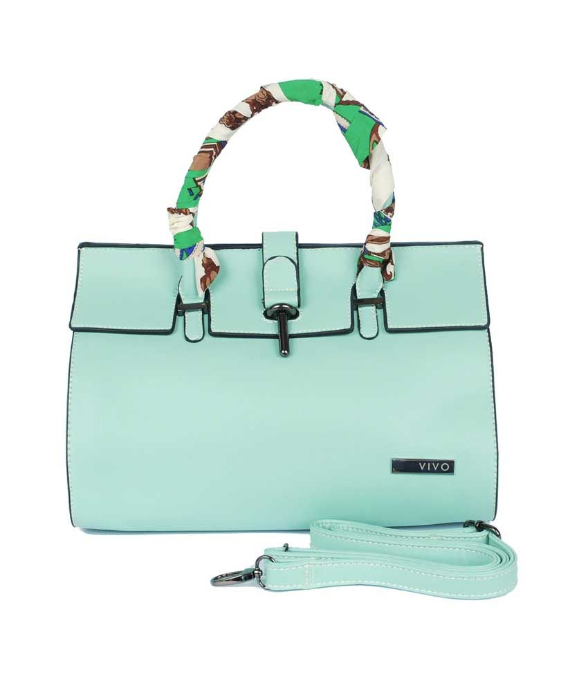 Viva Green PU Clasp Satchel Bag