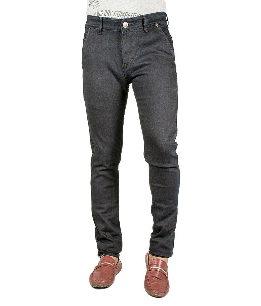Flying Port Black Cotton Blend Slim Fit Stretchable Jeans