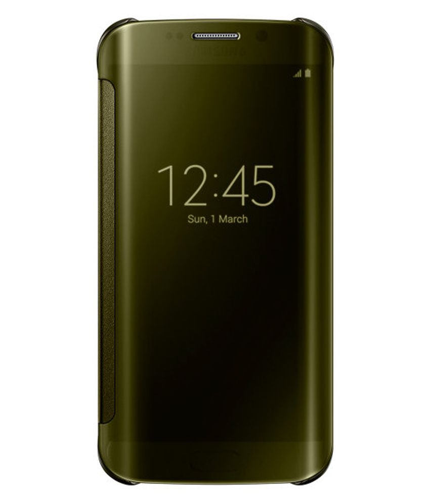 samsung clear view cover for samsung galaxy s6 edge gold flip rh snapdeal com