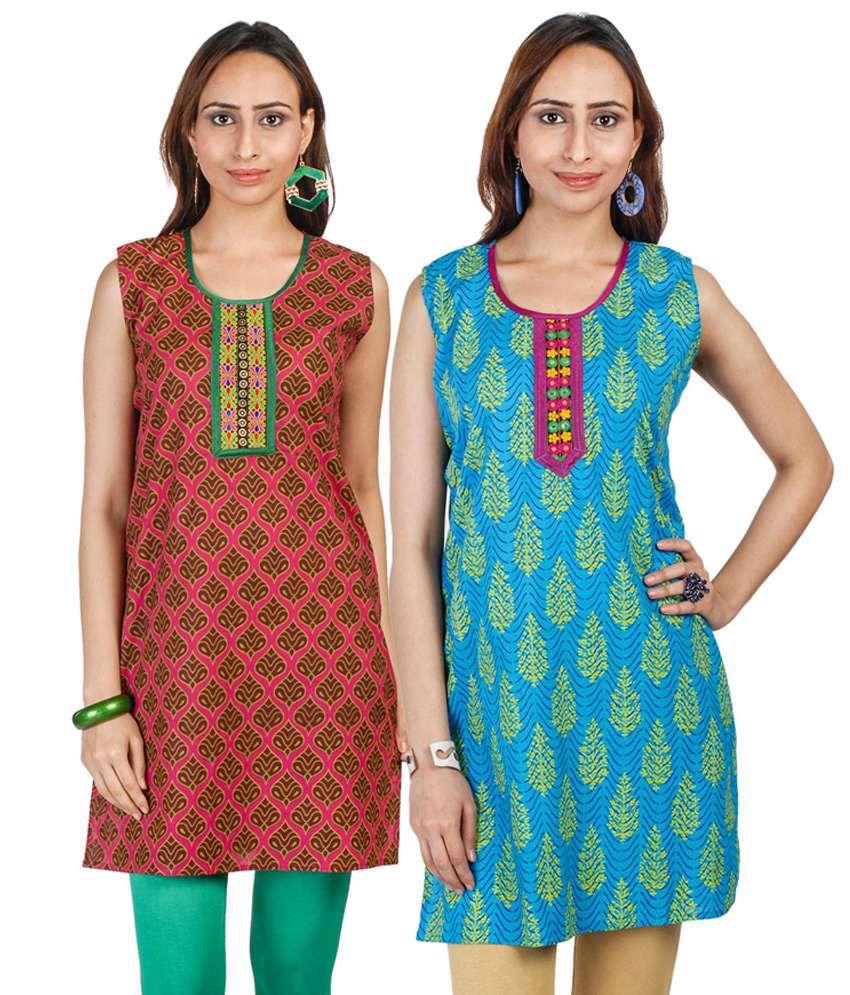 Lineysha Boutique Cotton Printed Sleeveless Kurti- Fuschia&Blue