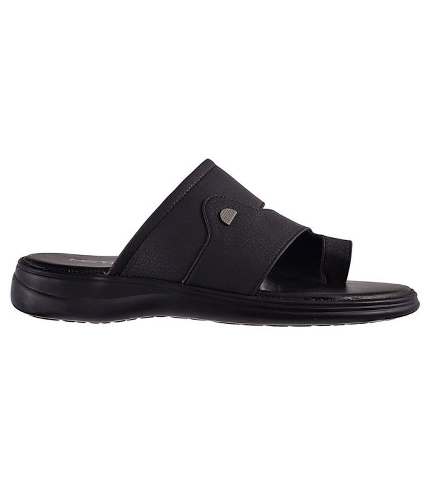 Metro Black Non Leather Slippers For
