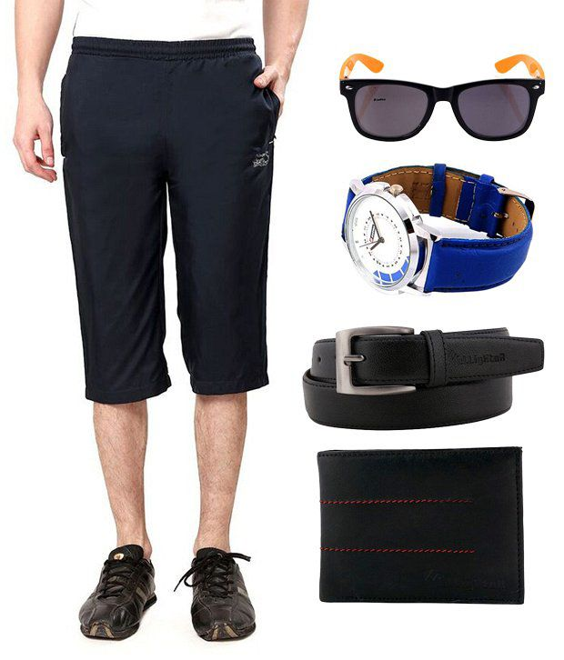Elligator Combo Of Belt,Wallet, Capri, Lotto Watch and Sunglasses