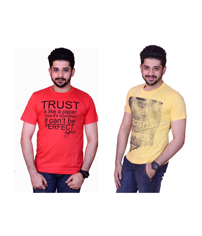 Inez Yellow & Red Printed Round Neck Cotton T-Shirt (Pack of 2)