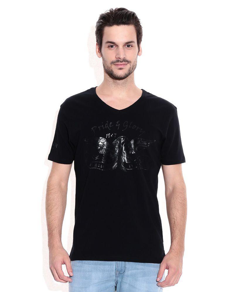 Wrangler Black V-Neck Neck T Shirt