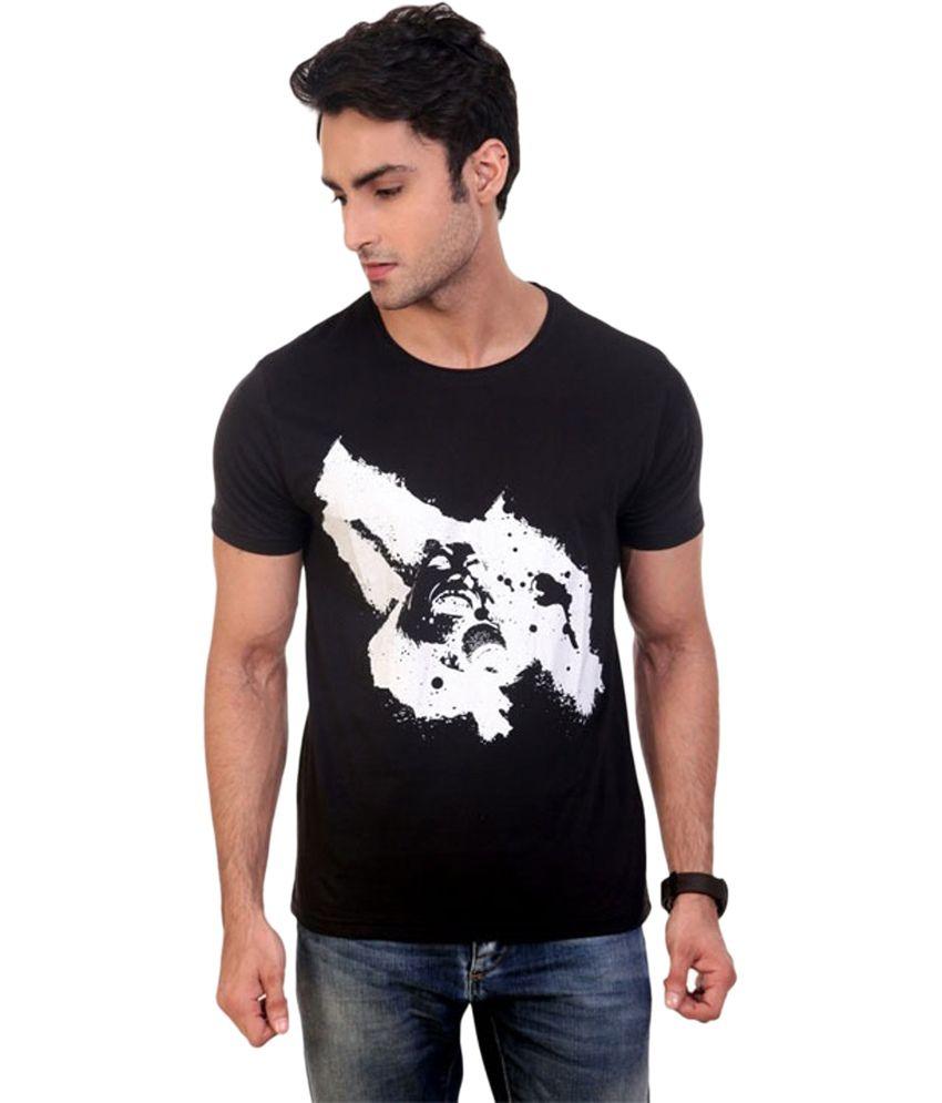 Cloud Impex Black Cotton Blend Half Sleeves Round Neck T-Shirt