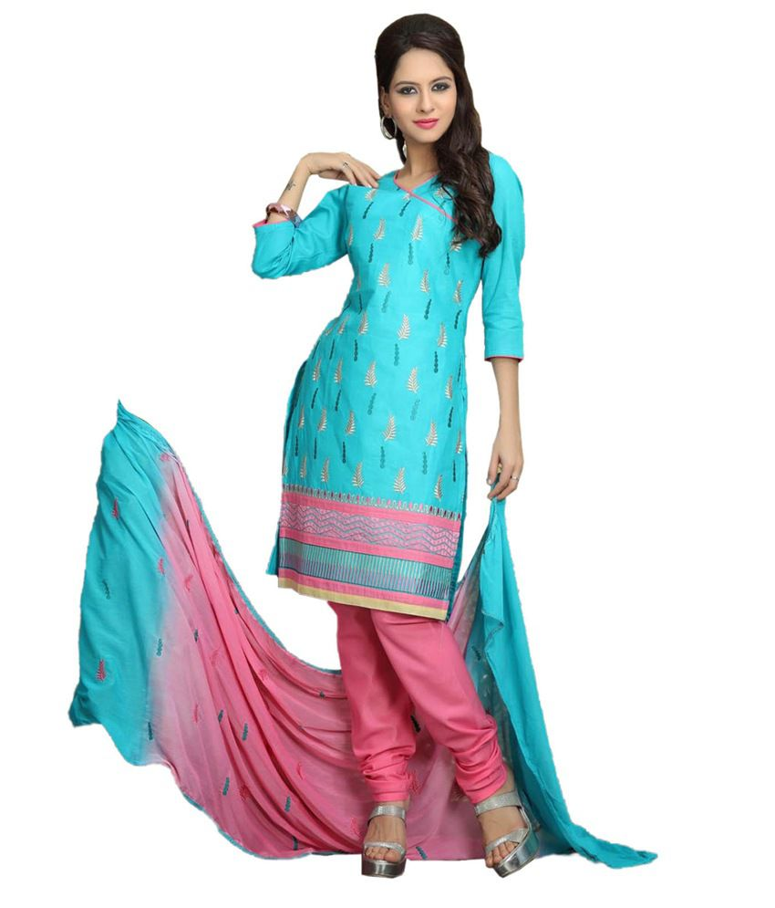 Ethnic Station Blue Cotton Unstitched Dress Material
