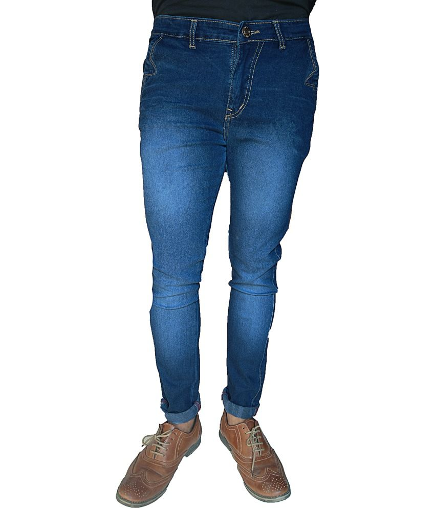 Oiin Blue Cotton Blend Stretchable Jeans
