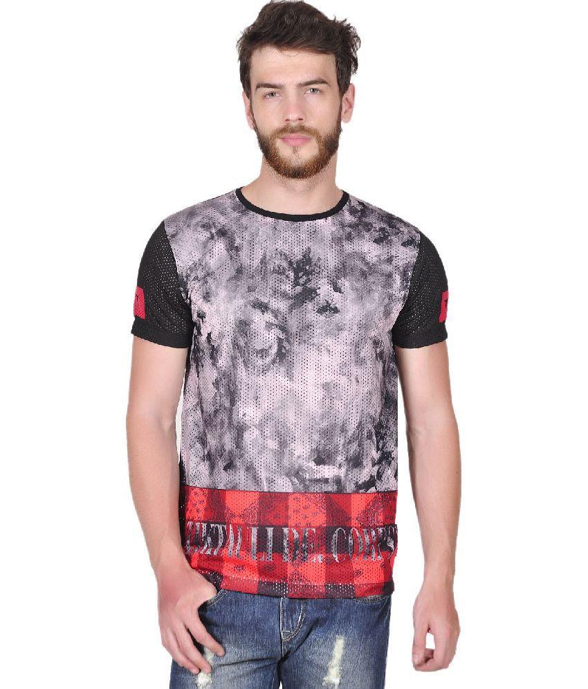 Tiktauli de. Corps. Polyester Black Lutton Check Paisly T-Shirt