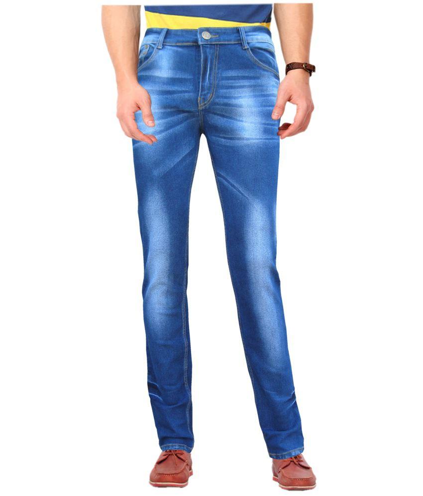White Pelican Medium Blue Cotton Blend Stretchable Slim Fit Jeans For Men