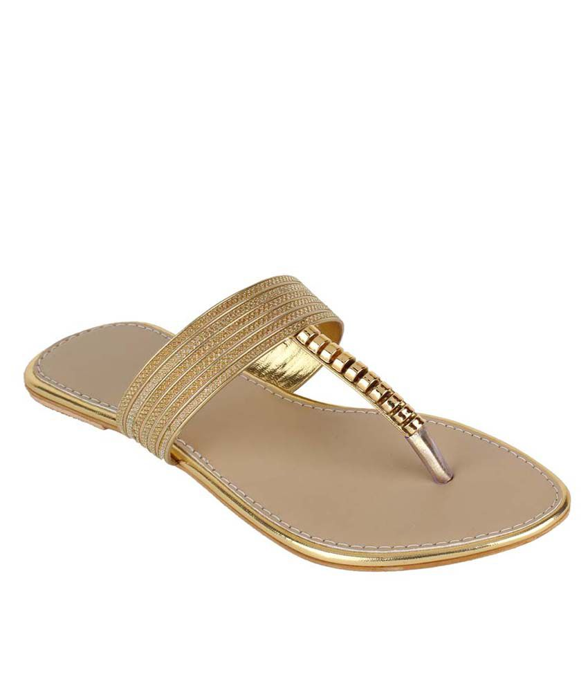 Authentic Vogue Gold Party Wear Slip-on