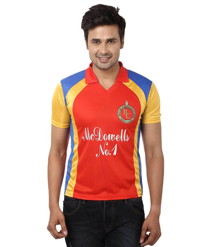 IPL Royal Challengers Banglore Red Polyester Fansgear Jersey