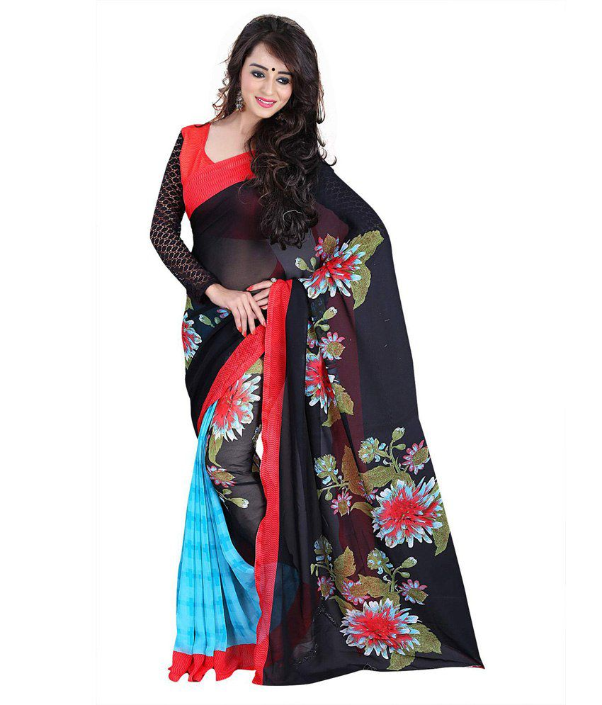 Kartik Creation Turquoise Faux Georgette Saree With Blouse Piece