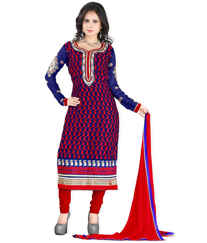 Lookslady Embroidered Dark Blue Georgette Semi Stitched Suit Semi Stitched Suit