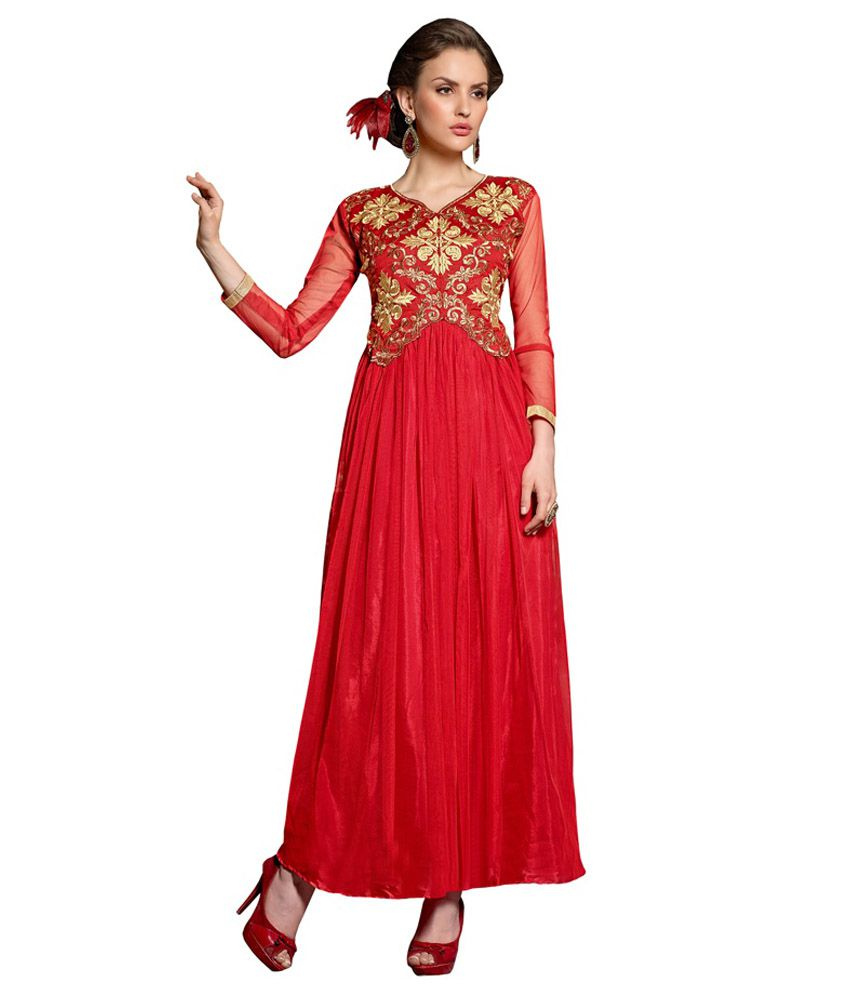 8421122aaa Craze N Demand Red Embroidered Net Anarkali Gown - Buy Craze N Demand Red  Embroidered Net Anarkali Gown Online at Best Prices in India on Snapdeal