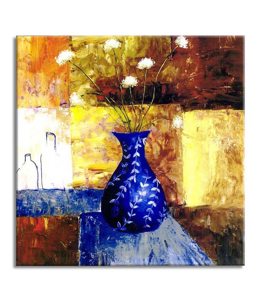 Painting Mantra Flower in vase Painting Canvas Print Wall Hanging