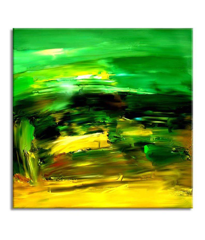Painting Mantra Green Abstract Painting Canvas Print Wall Hanging