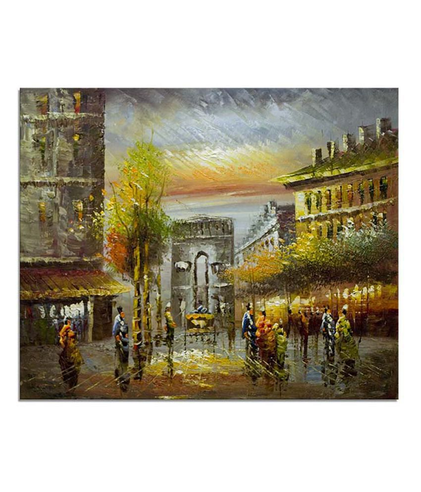 Painting Mantra Paris Street scene Painting Canvas Print Wall Hanging