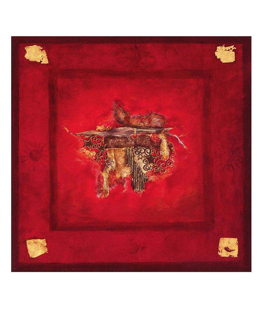 Painting Mantra Red Abstract Painting Canvas Print Wall Hanging