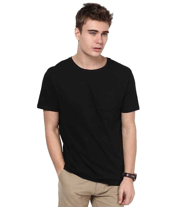 Royal Systems Black Cotton T Shirt