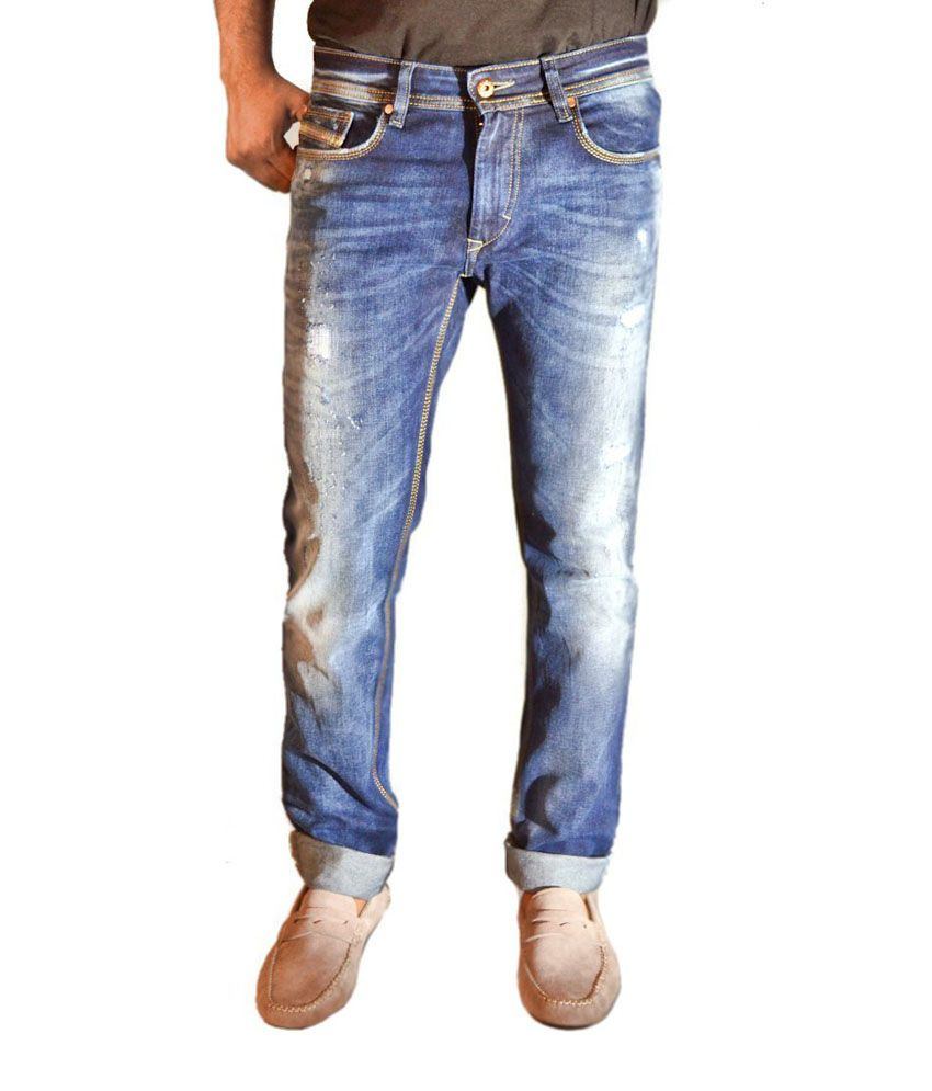 CULT Blue Faded Rugged Torn Skinny Fit Jeans