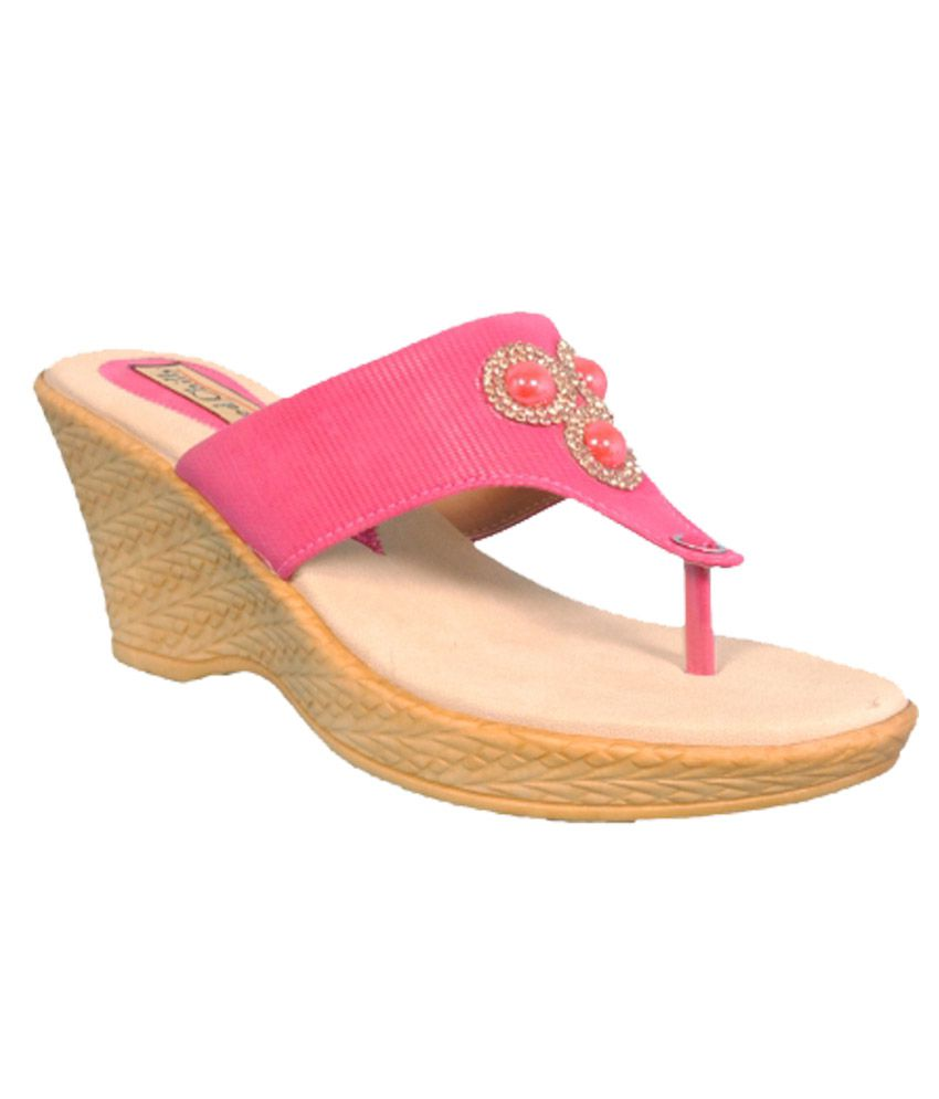 Red Chilly Pink Heeled Slip-on For Women