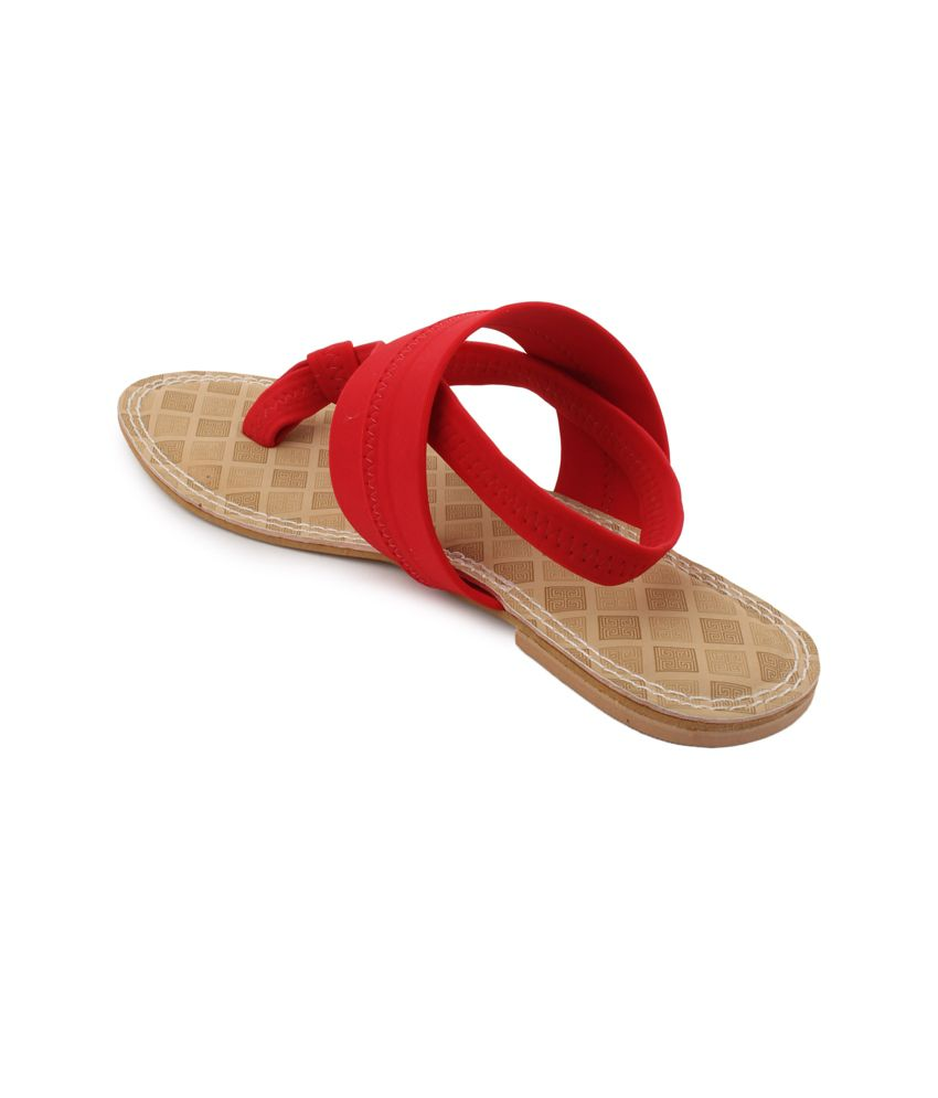 Shezone Red Suede Daily Wear Flat Sandals visa payment for sale how much online official online pay with visa for sale 7ntB8