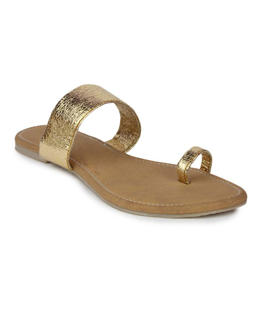 Aris Mart Gold Faux Leather Back Open Toe Ring Flat Slip-On