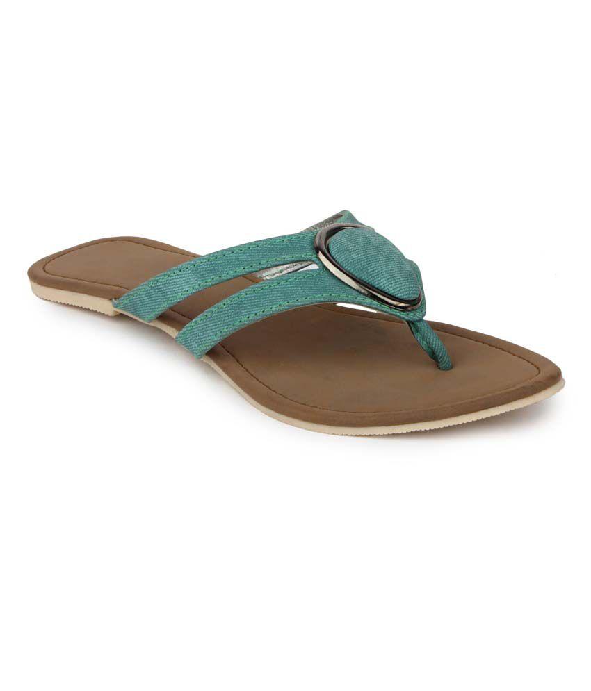 Aris Mart Green Faux Leather Back Open Open Toe Flat Slip-On
